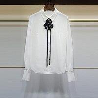 J 2017 Women S Turn Down Collar Butterfly Bow Tie Lacing Elegant Shirt Top 7601803