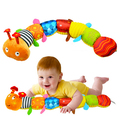 55cm Cute Caterpillar Style Educational Baby Toys Soft Stuffed Animal Kids Toys Multifun cational Musical Baby Rattles Toys