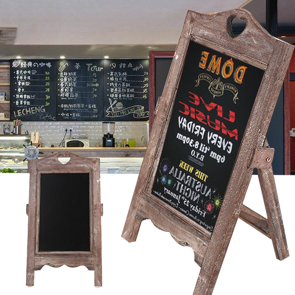 Wooden Small Blackboard Message Board Upright Home Restaurant Menu Card Desktop Cafe Multifunctional Decor Retro Nostalgia