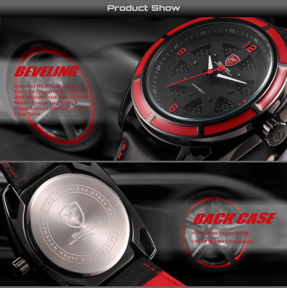 นวดฉลามกีฬานาฬิกาสีแดงกลวงLugกรณี3DแบบDialหนังสีดำวงส่องสว่างมือควอตซ์ผู้ชายRelógio Masculino/SH472 6