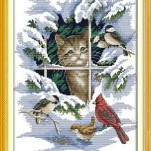 Cat and Birds Animal Winter Snow DMC Cross Stitch Kits Accur