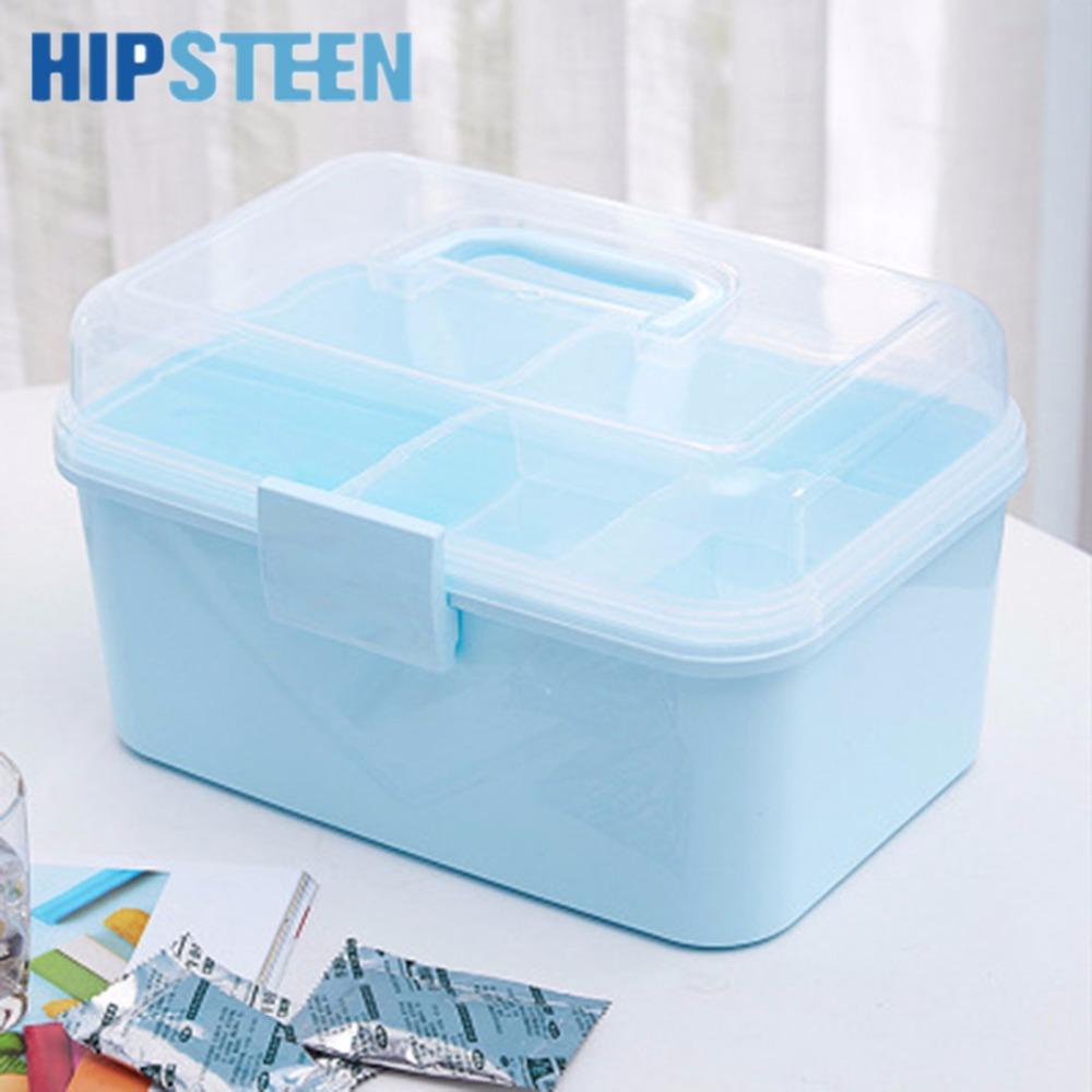 HIPSTEEN Portable Hand-held Double Layered PP Emergency Medicine Storage Box Household Medical Box Cabinet