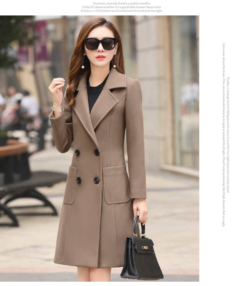 Outerwear Overcoat Autumn Jacket Casual Women New Fashion Long Woolen Coat Single Breasted Slim Type Female Winter Wool Coats 5