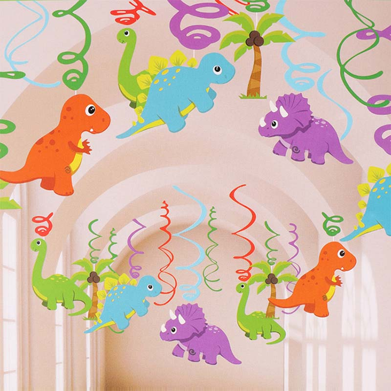 Dinosaur PVC Foil Hanging Swirls Dinosaur Birthday Party Decorations Kids Favors Jurassic Dino Ceiling Hanging Garlands Supplies
