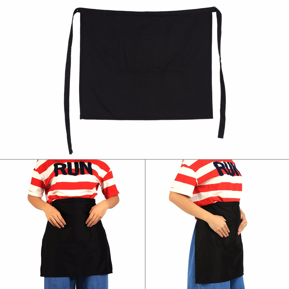 White half apron with pockets - Brief Style Black Half Waist Short Aprons With Pockets For Women Men Home Kitchen Pub Cafe