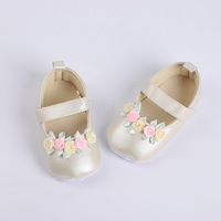 Hot spring baby infant lace small flower Velcro toddler shoes non slip baby shoes PU leather soft bottom shoes