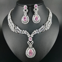 New fashion luxury romantic palace PINK water drop zircon necklace earring set,wedding bride banquet jewelry free shipping!