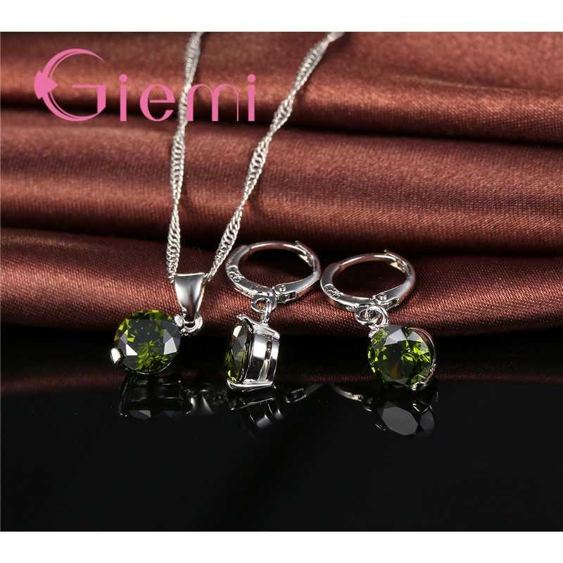 925 srebro słodkie romantyczny okrągły austriacki krystalicznie czyste cyrkonia kamień ślub panny młodej ceremonia biżuteria