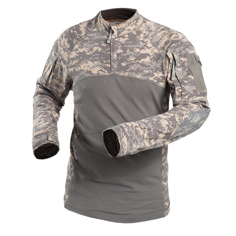 Manches longues Fitness course chemise coton chaud Crossfit Sportswear hommes Sport t-shirt Forces spéciales armée Fan grenouille chemise Rashgard
