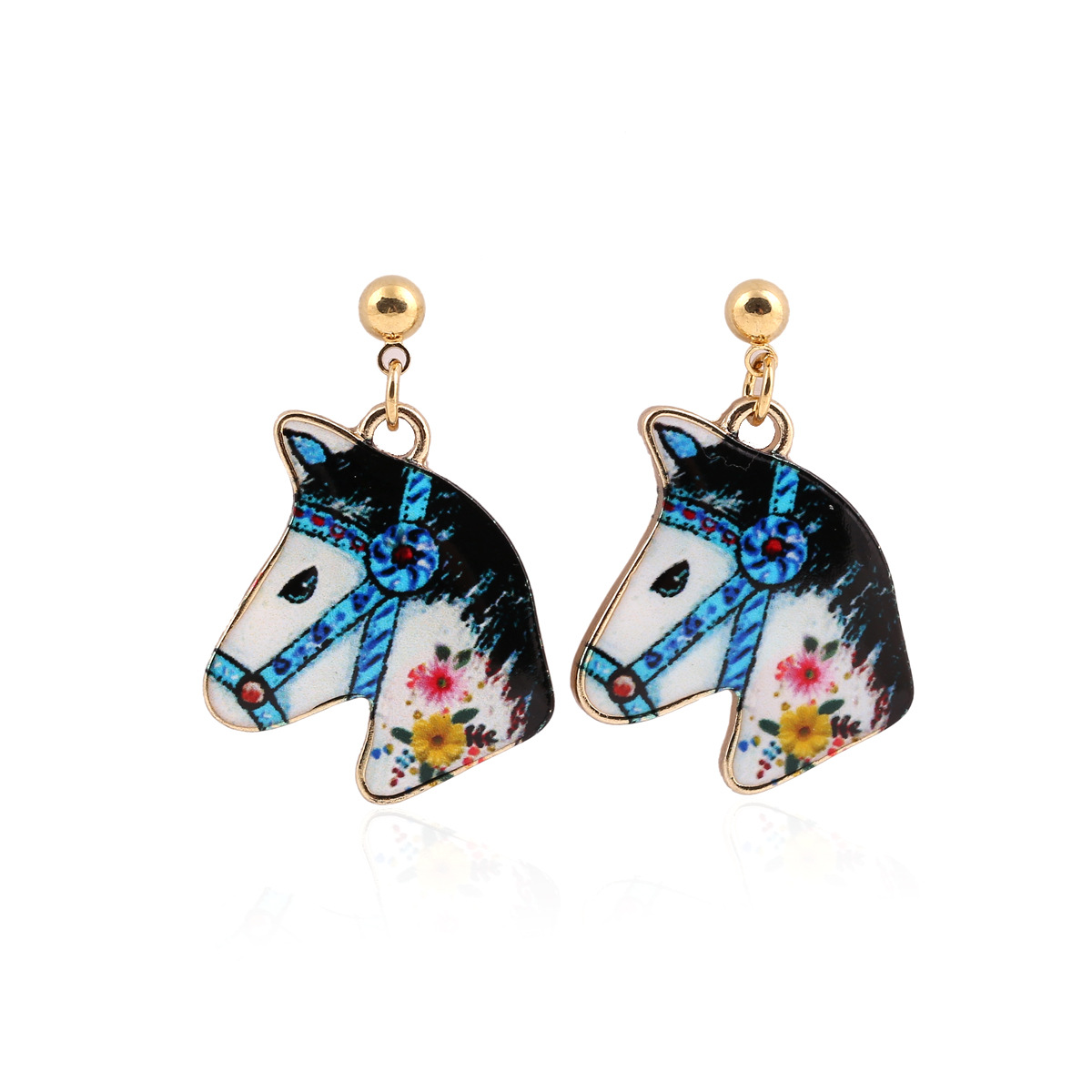 Dangle Long Horse Fashion Ethnic Drop Gold Color Plated Stainless Steel Pin  Zinc Alloy Drop Tassel