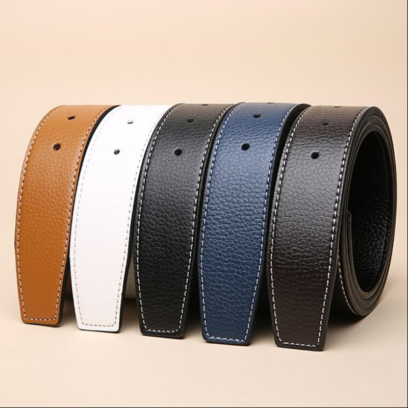 new Luxury Brand   Belts   for Men High Quality Pin Buckle Male Strap Genuine Leather Waistband Ceinture men's No Buckle 3.8cm   belt