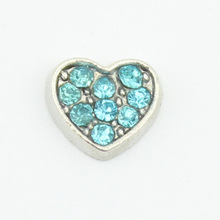 Hot selling! 10pcs March birthstone crystal heart floating charms for floating glass lockets