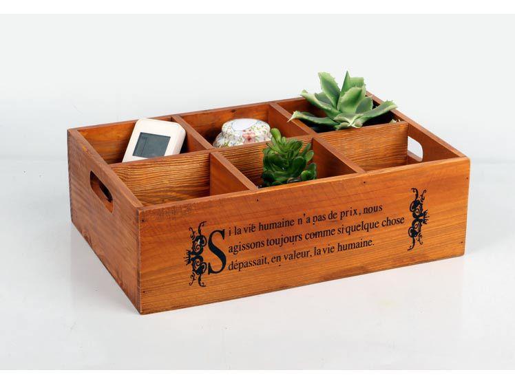 1PC Zakka Vintage Wooden Box Six Grocery Desktop Storage Box Planting  Storage Box Wood Logs Flower Pot J0909 In Storage Boxes U0026 Bins From Home U0026  Garden On ...