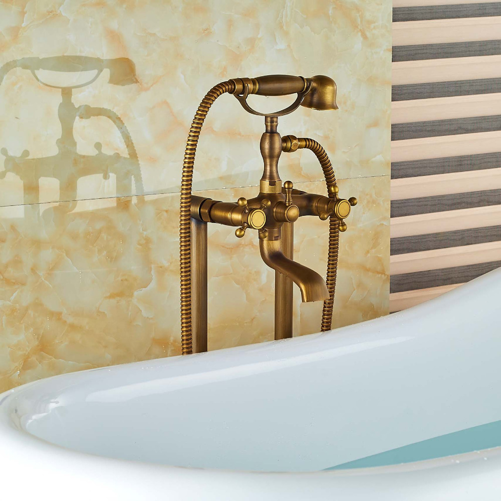 Floor Mount Bathroom Claw foot Bath Tub Faucet Free Standing Brass ...