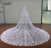 Eslieb 3.5 Meter Cathedral Wedding Veils Long Bow Bridal Veil with Comb Wedding Accessories Bride Mantilla Wedding Veil 2018