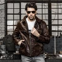 Mężczyzna skóra bydlęca bydło skórzana kurtka odzieży męskiej szczupła prawdziwa skóra bydlęca motocyklista kurtki