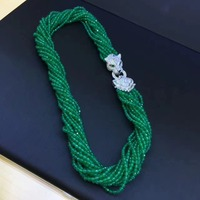 natural semi precious stone chokers necklace green color 925 sterling silver with cubic zircon leopard jewelry lock