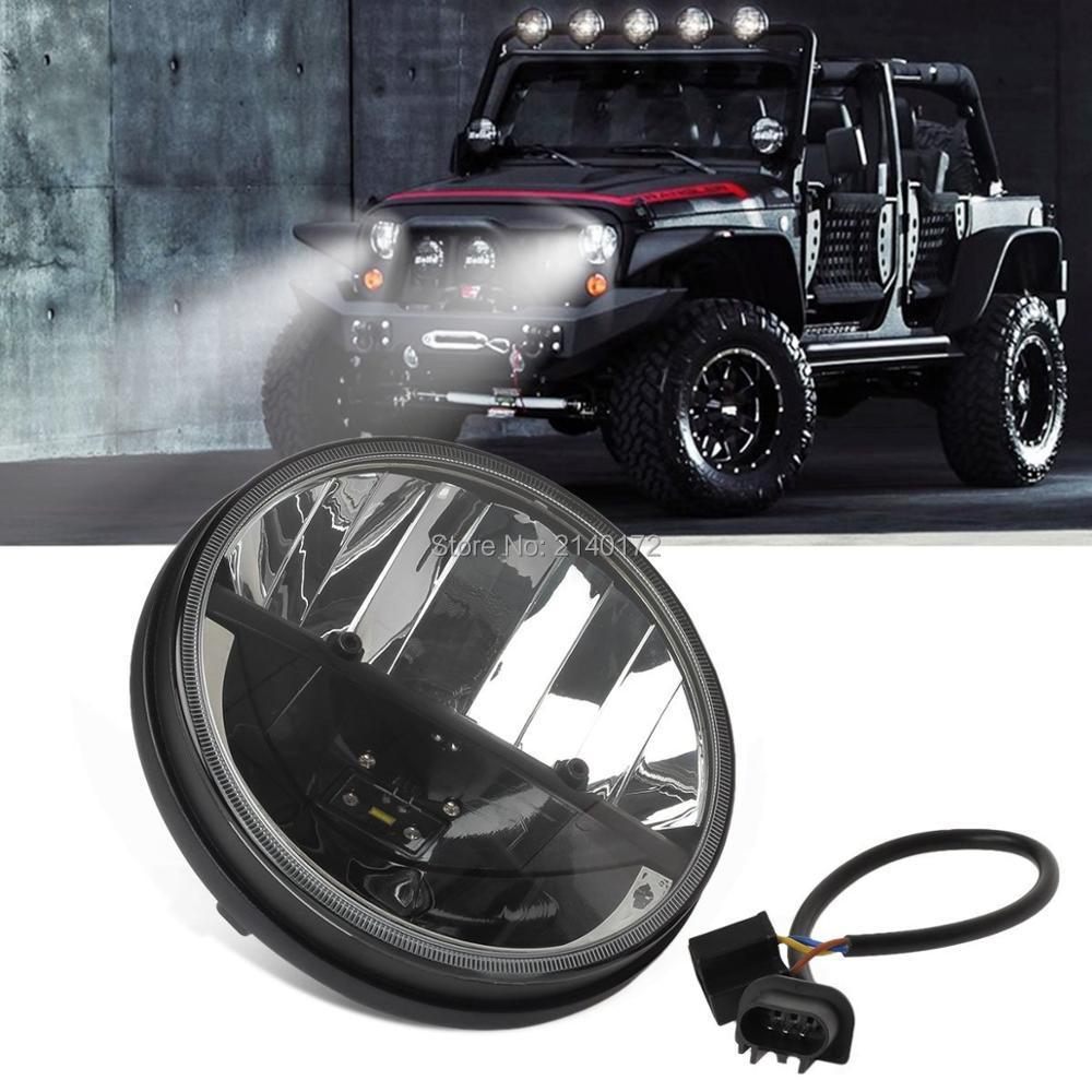 Sepasang 7 inch Hitam Putaran LED Headlight Dengan Tinggi / Rendah - Lampu mobil - Foto 1