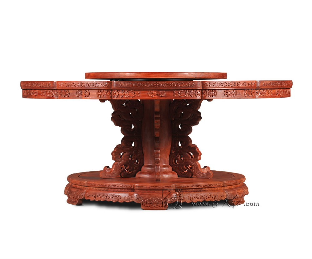 Neoclassical 2.1M Round Table Rosewood Hotel Dining Table Solid wood Office board Annatto Antique Wooden home Furniture Desk Set