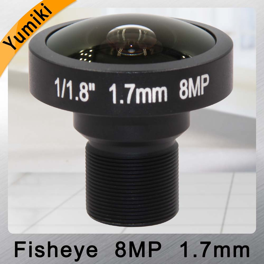 Yumiki Fisheye 8MP 1.7mm IR CCTV Camera Lens HD 8.0Megapixel F2.0 1/1.8 Image Format M12 Mount Wide Viewing Angle 185DegreeYumiki Fisheye 8MP 1.7mm IR CCTV Camera Lens HD 8.0Megapixel F2.0 1/1.8 Image Format M12 Mount Wide Viewing Angle 185Degree