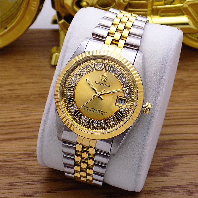Fashion Classic Reginald Brand Datejust Quartz Watch Men Fluted Bezel Vintage Roman Dial Full Stainless Steel Luminous Clock