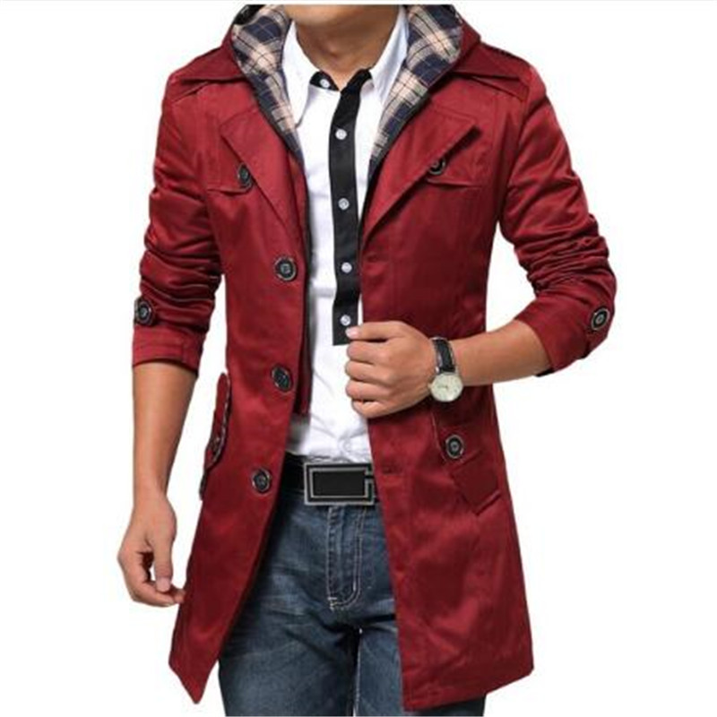 Plus Size 6XL New Arrival Male Overcoat Fashion Loose Dust Coat Single Breasted Overcoat Long Men Smart Casual   Trench