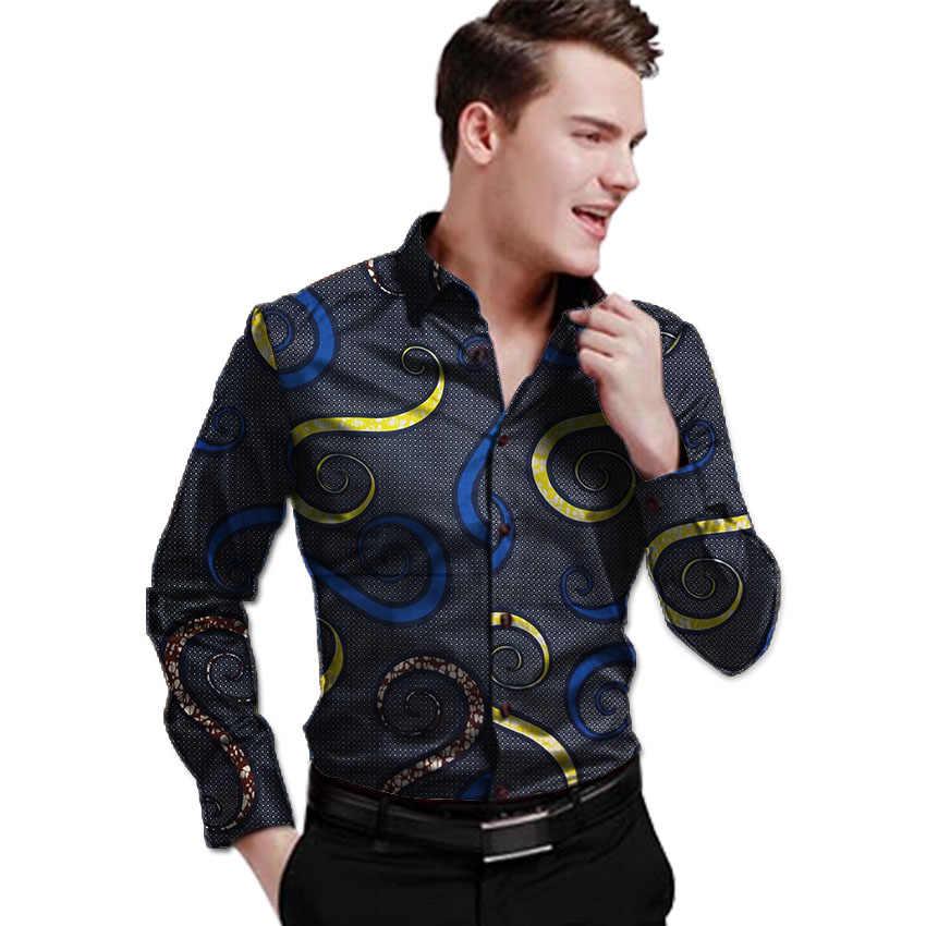 ff22cb2c57a Ярко печати мужская рубашка с отложным воротником Топы африканская одежда  для мужчин Мода Длинные рукава Дашики