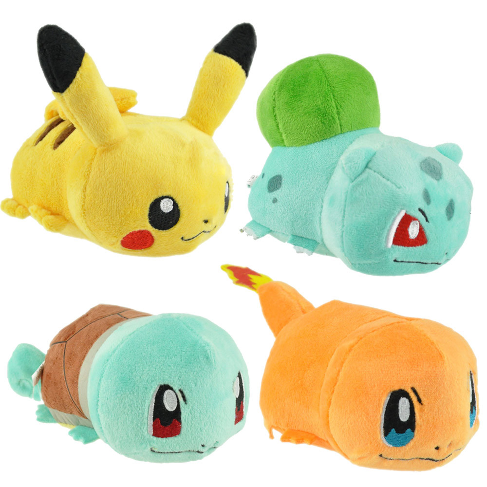 Cartoon plush toys 12cm cute Chubby Pikachu Squirtle Charmander Bulbasaur soft stuffed animals plush dolls kids gift 5pcs lot pikachu plush toys 14cm pokemon go pikachu plush toy doll soft stuffed animals toys brinquedos gifts for kids children