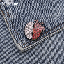 Half Organ Heart Brain Enamel Pin Rational Sensual Brooches Bag Clothes Lapel Pin Badge Love Medical Jewelry Gift for Doctor(China)