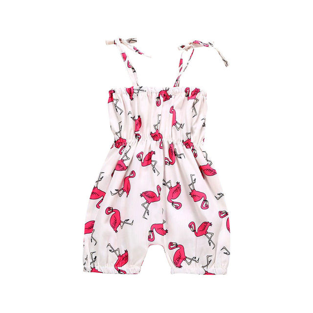 ceca193b5 Lovely Baby Girls Rompers Flamingo Printed Clothes Jumpsuits Sleeveless  Summer Girl Clothes Outfit Romper Set