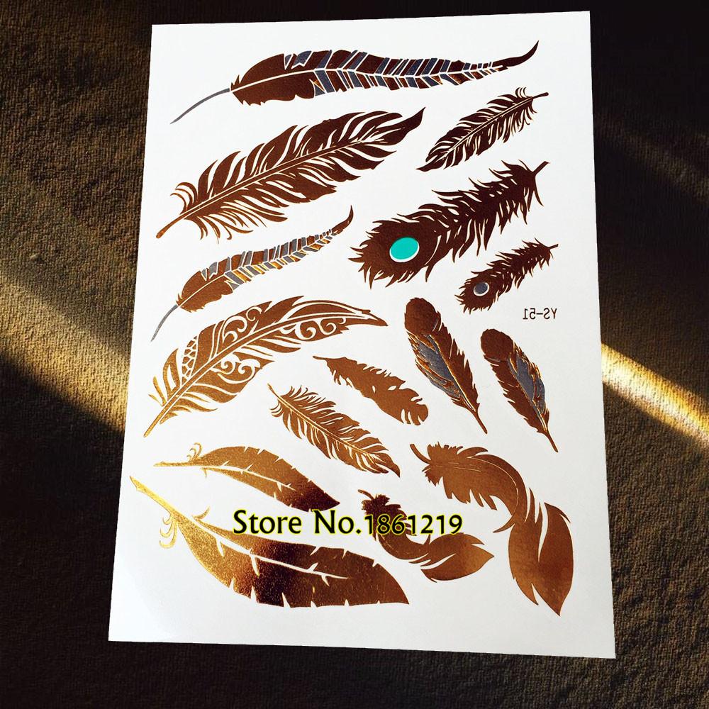 25 Styles Popular Gold Metallic Peacock Feather Temporary Tattoo Waterproof Leaf Tatoo Women Flash Body Art Fake Tattoo Stickers