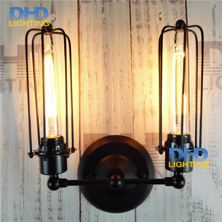 Double arm iron cage shade Hot sale America style country nostalgic vintage wall lamps for home decor restauran dinning room hot sale fashion hot sale coconut palm iron wall hanging basket