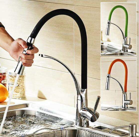 Black and Chrome Finish Kitchen faucet kitchen Sink Faucet Deck Mount Pull Out Dual Sprayer Nozzle Hot Cold Mixer Water Taps swanstone dual mount composite 33x22x10 1 hole single bowl kitchen sink in tahiti ivory tahiti ivory