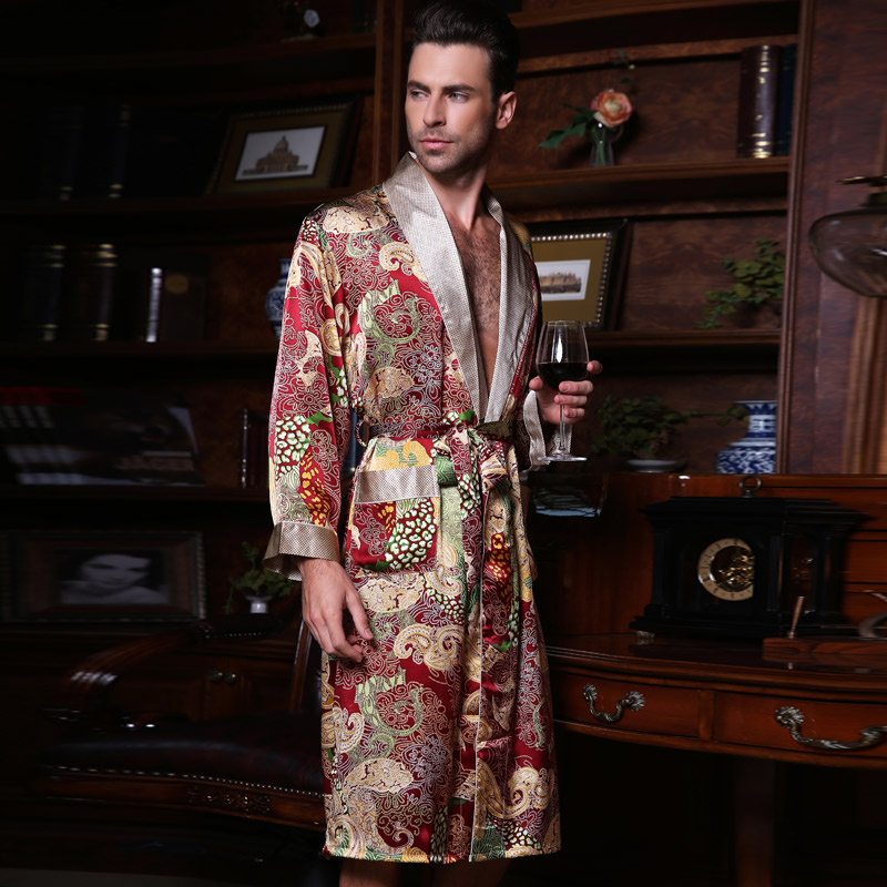 Genuine Silk Sleeping Robes Male Spring Summer Long-Sleeve Fashion Printed Bathrobe Kimono Silkworm Silk Mens Sleepwear 2519 ...