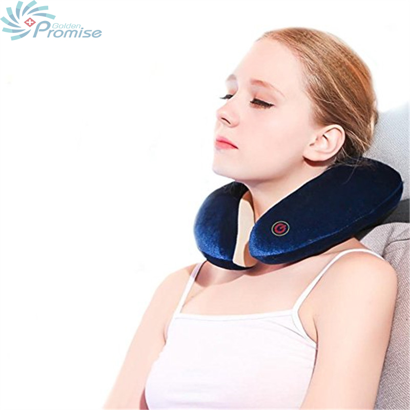 Travel Rechargeable 360 Degree Rotating U-shaped Pillow Massager Multiuse Shiatsu Kneading Heating Massager Relief From Fatigue