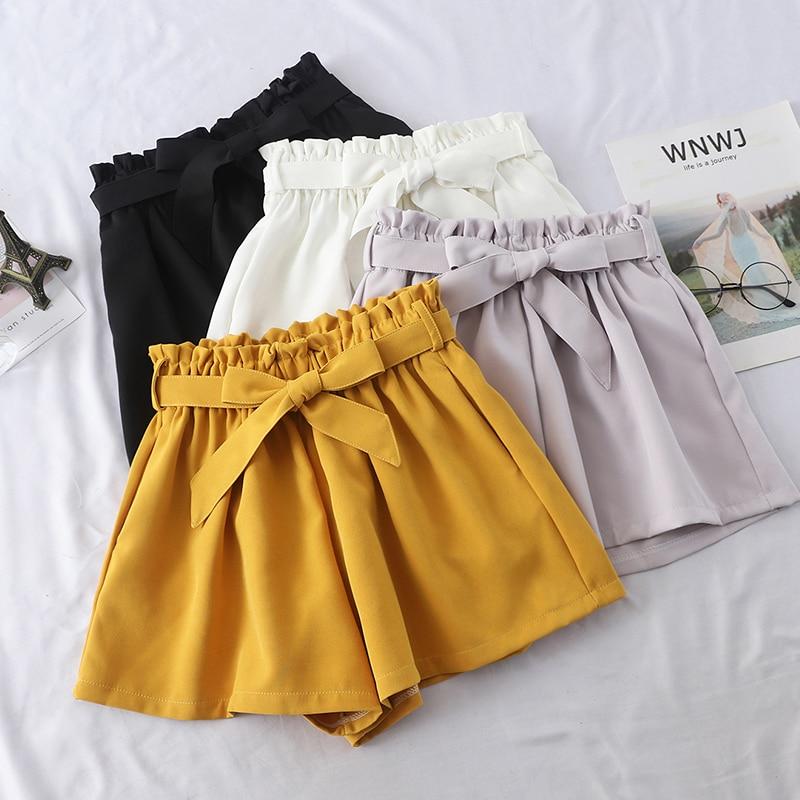 Lace-up A Line Shorts Women 2019 Summer Korean Loose Shorts Slim High Waist Wide Leg Short Pants Fashion Streetwear Shorts Femme