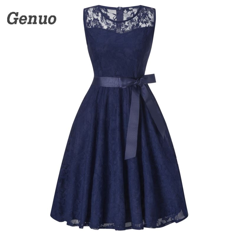 Genuo Women Vintage O Neck Sleeveless Slim Lace Floral Dress Wedding Party Bridesmaid Pleated Dresses Vestido de festa