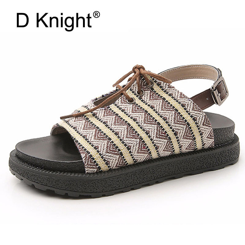 2018 Womens Flat with Platform Baech Sandals Women Summer Causal Shoes New Fashion Sandalias Vacation&Sea Mujer Shoes For Woman
