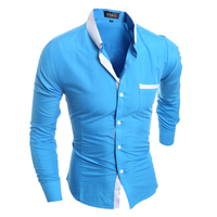 Men Shirt Luxury Brand 2016 Male Long Sleeve Shirts Casual Mens Simple Solid Single Breasted Slim