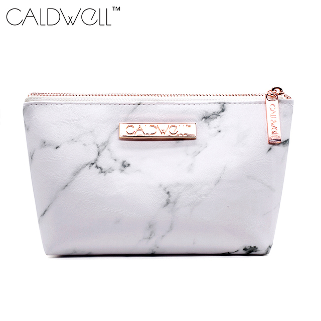CALDWELL Marble PU Leather Cosmetic Bag 2017 New Fashion Zipper Storage  Bag Portable Ladies Travel Square Makeup Brushes Bag
