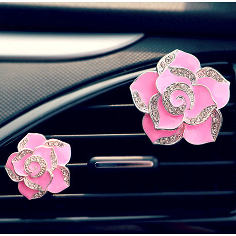 2pcs Different Sizes Car Use Perfume Seat Car Ornaments with Crystal Creative Charm Beautiful Camellia Flower Car Accessories