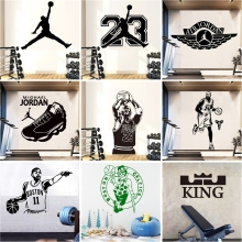 Hot Michael Jordan Basketball Kyrie Irving Kobe Bryant Vinyl Wall Sticker For Boys Bedroom Decoration GYM Sports Wallpaper mural