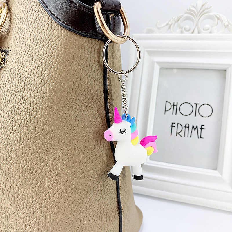Criativo PVC keychain macio bonito dos desenhos animados da sereia flamingo estrela dinossauro saco anel chave do carro chaveiro pingente feminino pingente liga
