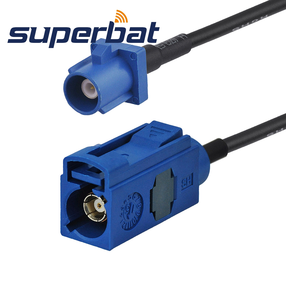 Superbat Car GPS Antenna Extension Cable Fakra C Male Plug to Female Jack RG174 15cm for Pionner JVC GPS Wireless DAB Antenna