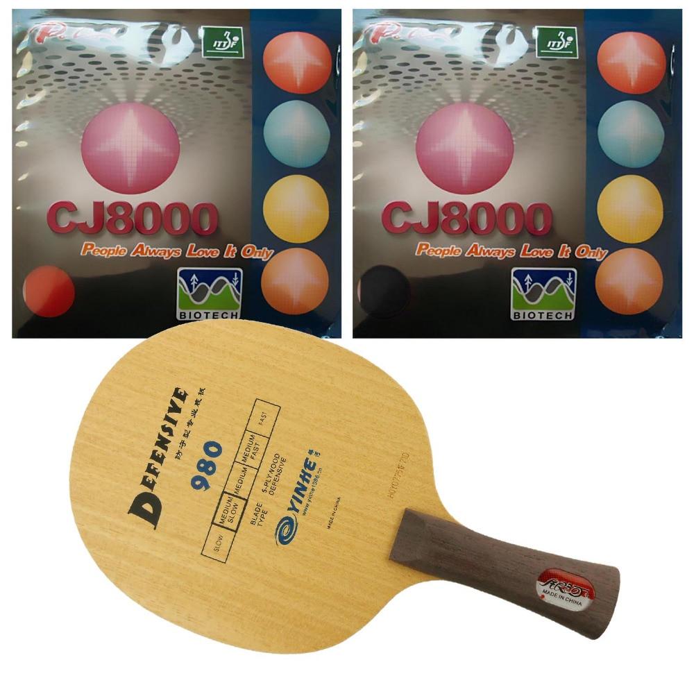 Combo Racket: Galaxy YINHE 980 Blade with 2x Palio CJ8000 (BIOTECH) 36-38 degree Rubbers Shakehand Long Handle FL pro combo racket galaxy yinhe 980 blade with 2x palio cj8000 biotech 36 38 degree rubbers