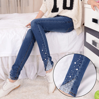 Fashion New Female Diamante Jeans Womens Embroidered Flares Lace Patchwork Denim Trousers Ladies Mid Waist Slim