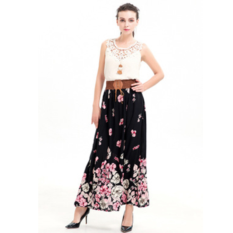 2019 Summer Fashion Women Skirt Bohemian Casual Floral Printed A-Line Sashes Ankle-Length Long Skirt Pleated Harajuku Skirt