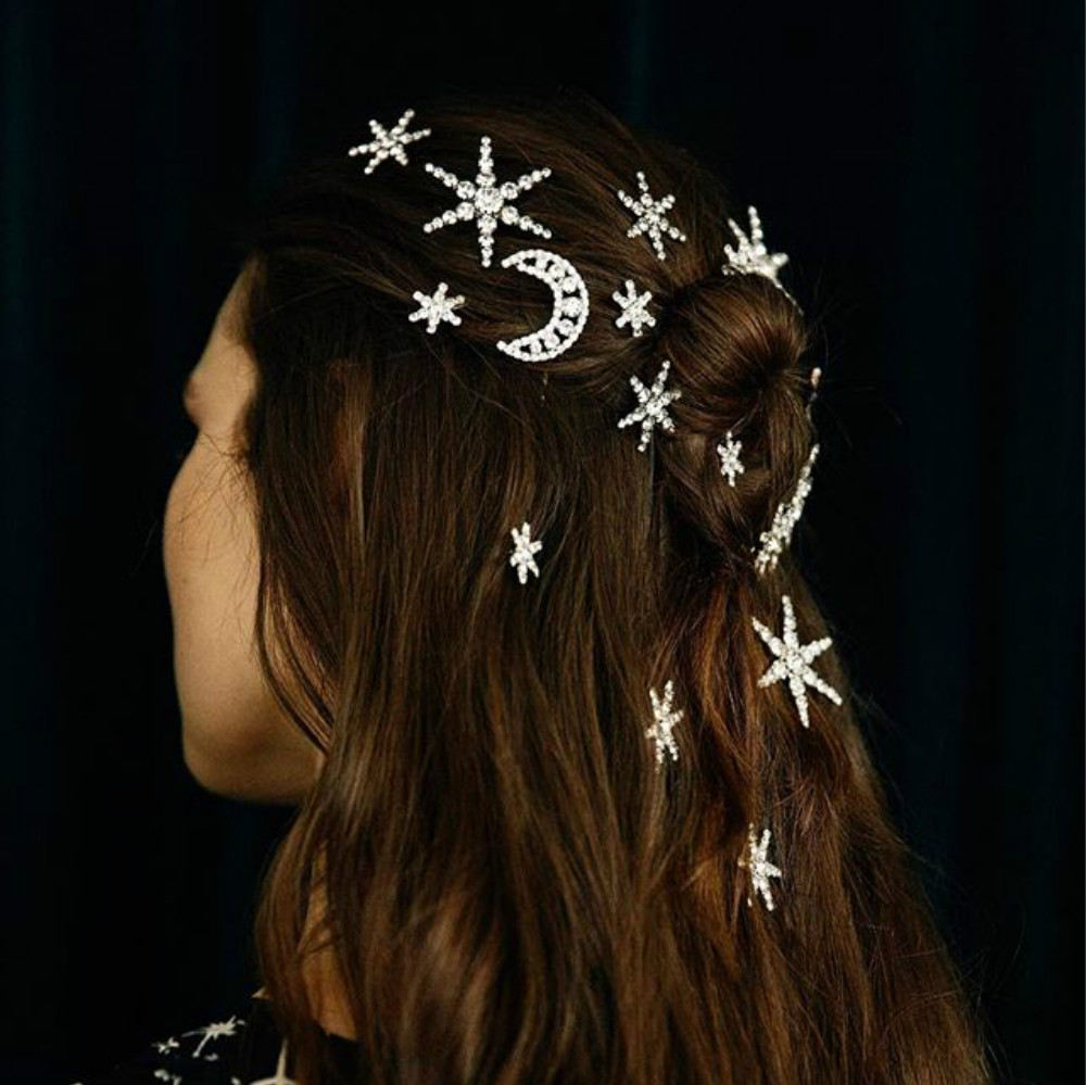 Fashion Women Girls Crystal Rhinestone Moon Star Hair Barrettes Hair Clips Sets