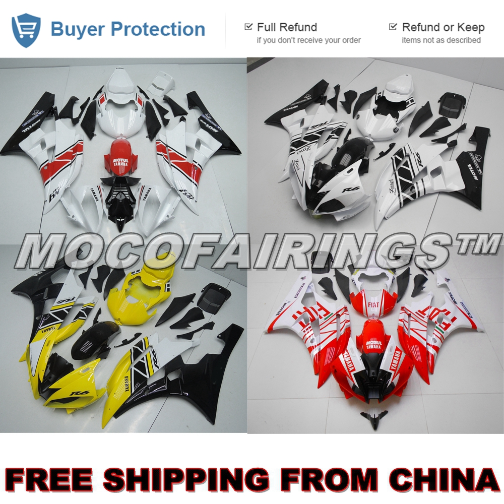 Injection ABS Plastic Fairing <font><b>Kit</b></font> For <font><b>Yamaha</b></font> YZF <font><b>R6</b></font> 2006 2007 RED WHITE YELLOW YZF-<font><b>R6</b></font> 06 07 <font><b>Body</b></font> Work image