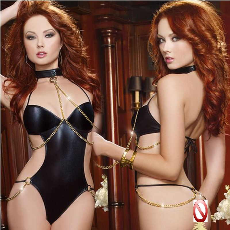2018 New Sexy Women Body Suit Role Play Costume Dominatrix Fetish Clothing Seductress Fantasy Leather Leash Black Exotic Apparel